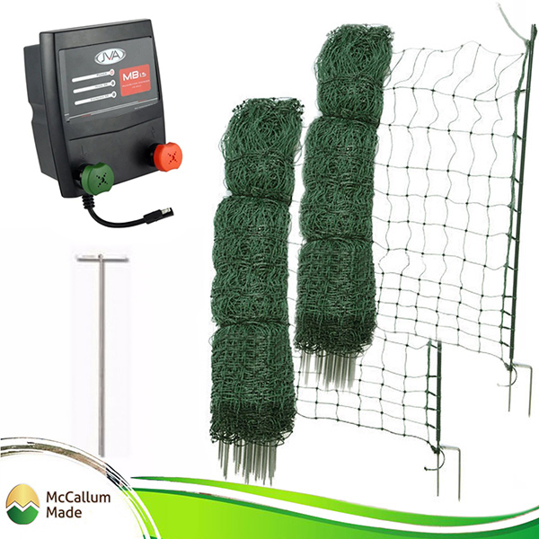 poultry netting kit battery mains 100m